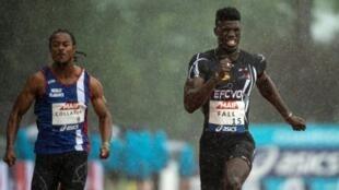 Mouhamadou Fall (d) aux championnats de France d'athlétisme à Saint Etienne le 27 juillet 2019