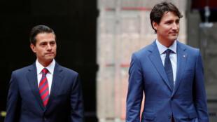 Presidente de México Enrique Peña Nieto recibe al primer ministro de Canadá, Justin Trudeau