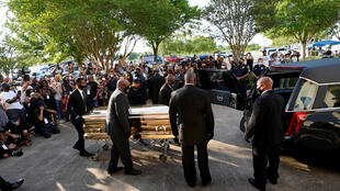 The casket of George Floyd is removed after a public visitation for Floyd at the Fountain of Praise church, Monday, June 8, 2020, in Houston, U.S. David J.