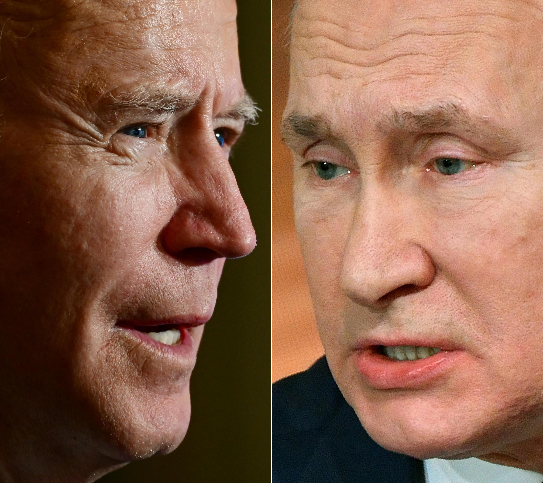 US President Joe Biden (left) has quickly shown a harder line on Russian Presidnent Vladimir Putin