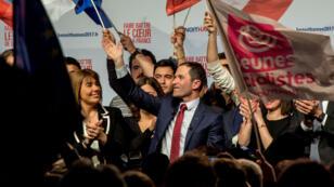 Benoît Hamon, vainqueur de la primaire, a été ovationné lors de son discours à La Mutalité, le 29 janvier.
