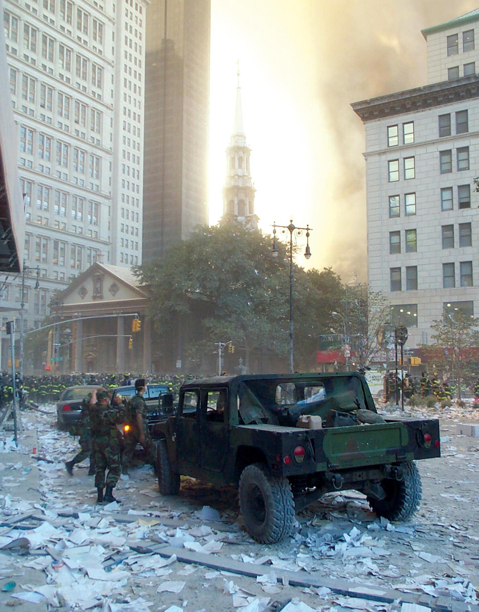 Military at St. Paul's Chapel on September 11, 2001.