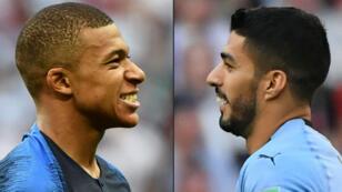 Mbappé et Suarez, buteurs ennemis en quart de finale du Mondial-2018.