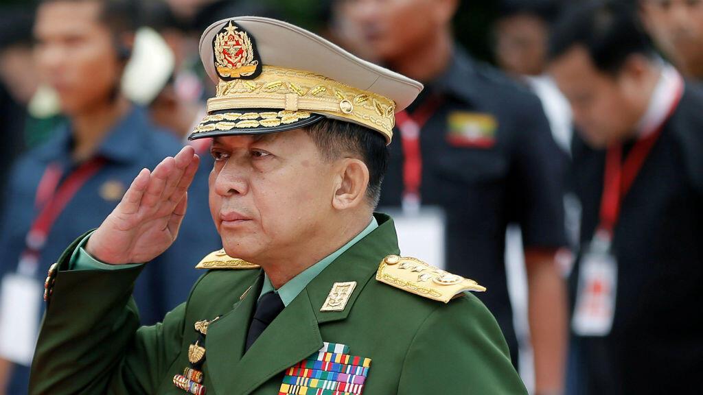 Min Aung Hlaing, el jefe de las Fuerzas Armadas de Myanmar, durante el evento de conmemoración del Día de los Mártires celebrado en Yangon, Myanmar, el 19 de julio de 2018.