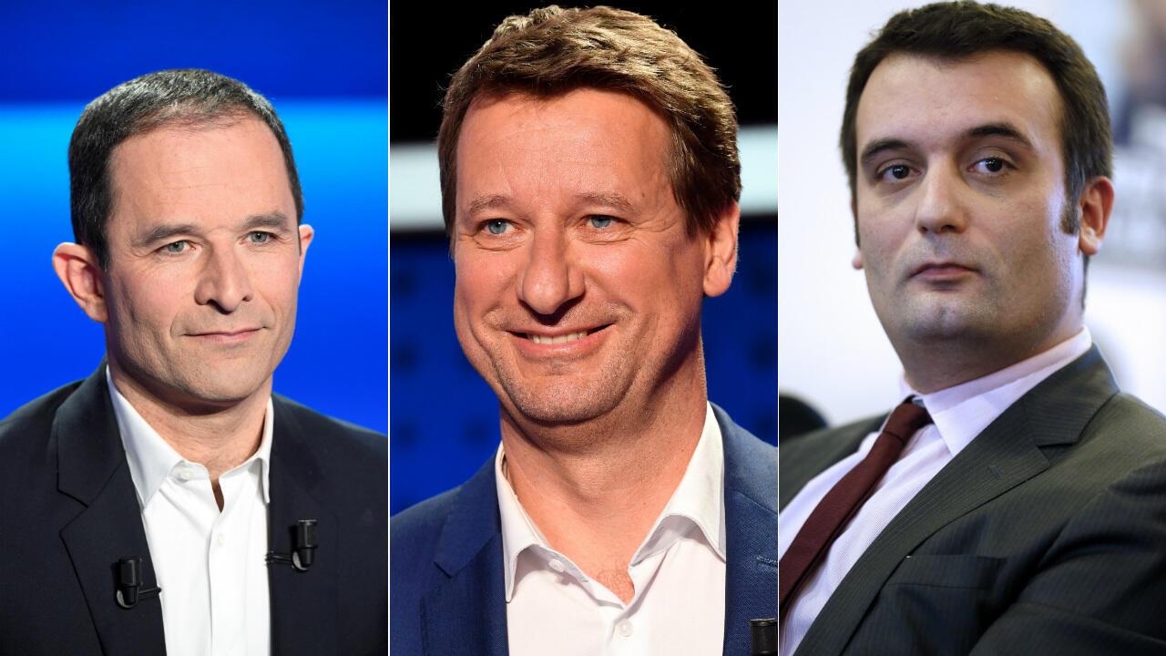 Benoït Hamon, Yannick Jadot et Florian Philippot : trois anciens eurodéputés têtes de liste aux européennes.