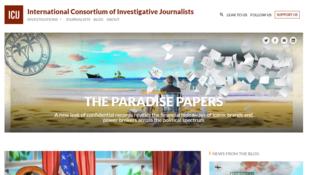 Presentación de la página del Consorcio Internacional de Periodismo de Investigación (ICIJ), que investiga los documentos fiscales filtrados.