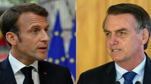 Le président français Emmanuel Macron à Bruxelles le 30 juin 2019, et son homologue brésilien Jair Bolsonaro à Brasilia le 16 janvier 2019.