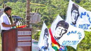 El presidente de Bolivia, Evo Morales, durante un acto de campaña en Chimoré el 18 de mayo de 2019.