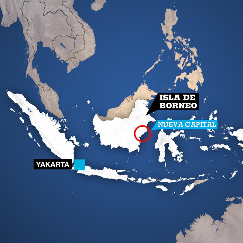 La nueva capital de Indonesia que todavía no tiene nombre, estará ubicada en la parte oriental de la isla de Borneo, entre los distritos de Kutai Kartanegara y Penajam Paser.