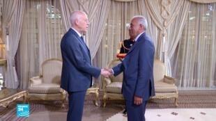 رئيس الحكومة المكلف الحبيب الجملي ورئيس الجمهورية التونسي قيس سعيد.