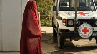 Un véhicule de la Croix-Rouge à Kaboul, en Afghanistan.