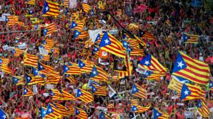 Manifestación independentista convocada por la ANC con motivo de la celebración de la Diada en las calles de Barcelona, el 11 de septiembre de 2018.