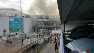 مطار بروكسل بعد التفجيرات.