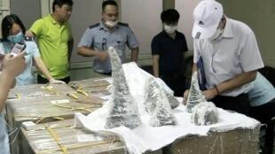 Officials found 125 kilos of rhino horn encased in plaster