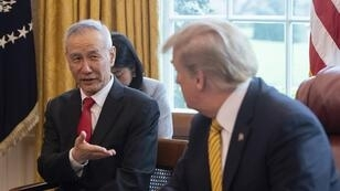 Le vice-Premier ministre chinois, Liu He, et le président américain, Donald Trump, à la Maison Blanche le 4 avril 2019.