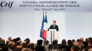Emmanuel Macron lors du dîner annuel du Conseil représentatif  des institutions juives de France (Crif).