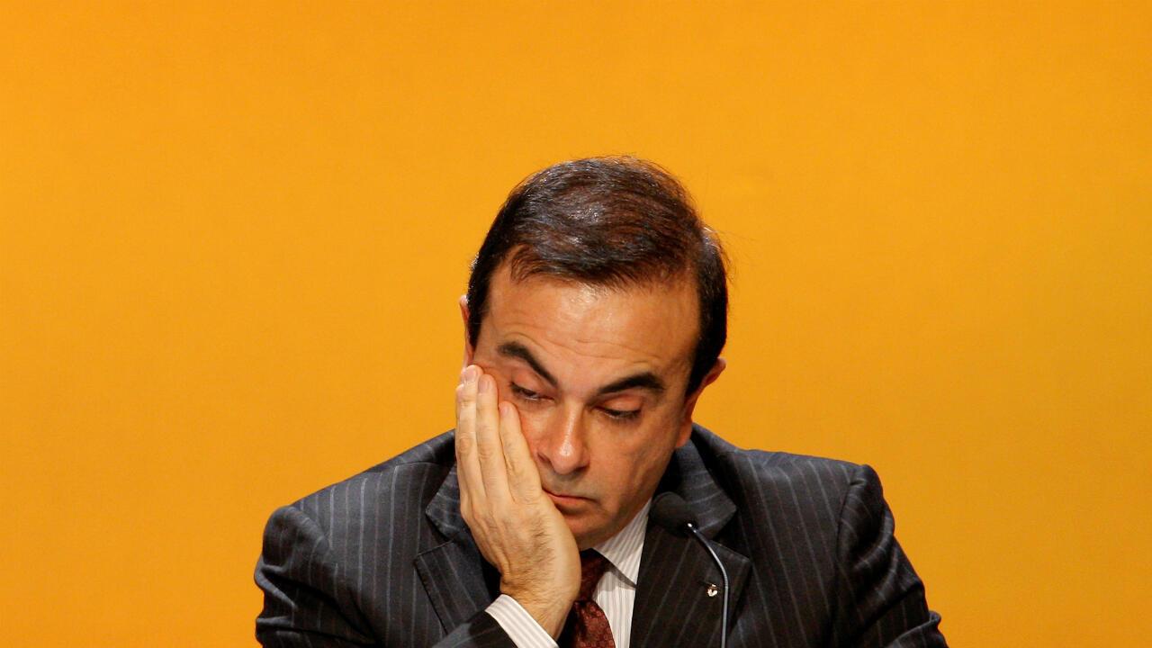 Carlos Ghosn, expresidente y director ejecutivo de Renault, en una reunión anual de accionistas de la compañía en el distrito financiero de La Defense, cerca de París, el 29 de abril de 2008.