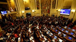 La cámara de Representantes de Colombia durante la votación en la que fue aprobada la Ley Estatutaria de la Justicia Especial para la Paz.