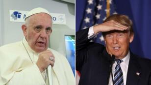Le pape François a attaqué le candidat à la primaire républicaine Donald Trump, le 19 février 2016, sur ses positions anti-immigrés.