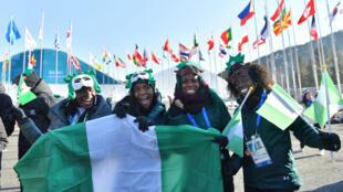 Les athlètes nigérianes Seun Adigun, Ngozi Onwumere, Akuoma Omeoga et Simidele Adeagbo, au village olympique de Pyeongchang, en Corée du sud, le 6 février 2018.
