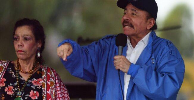 El presidente Daniel Ortega y su esposa, la vicepresidenta Rosario Murillo, durante un evento en Managua. 7 de julio de 2018.