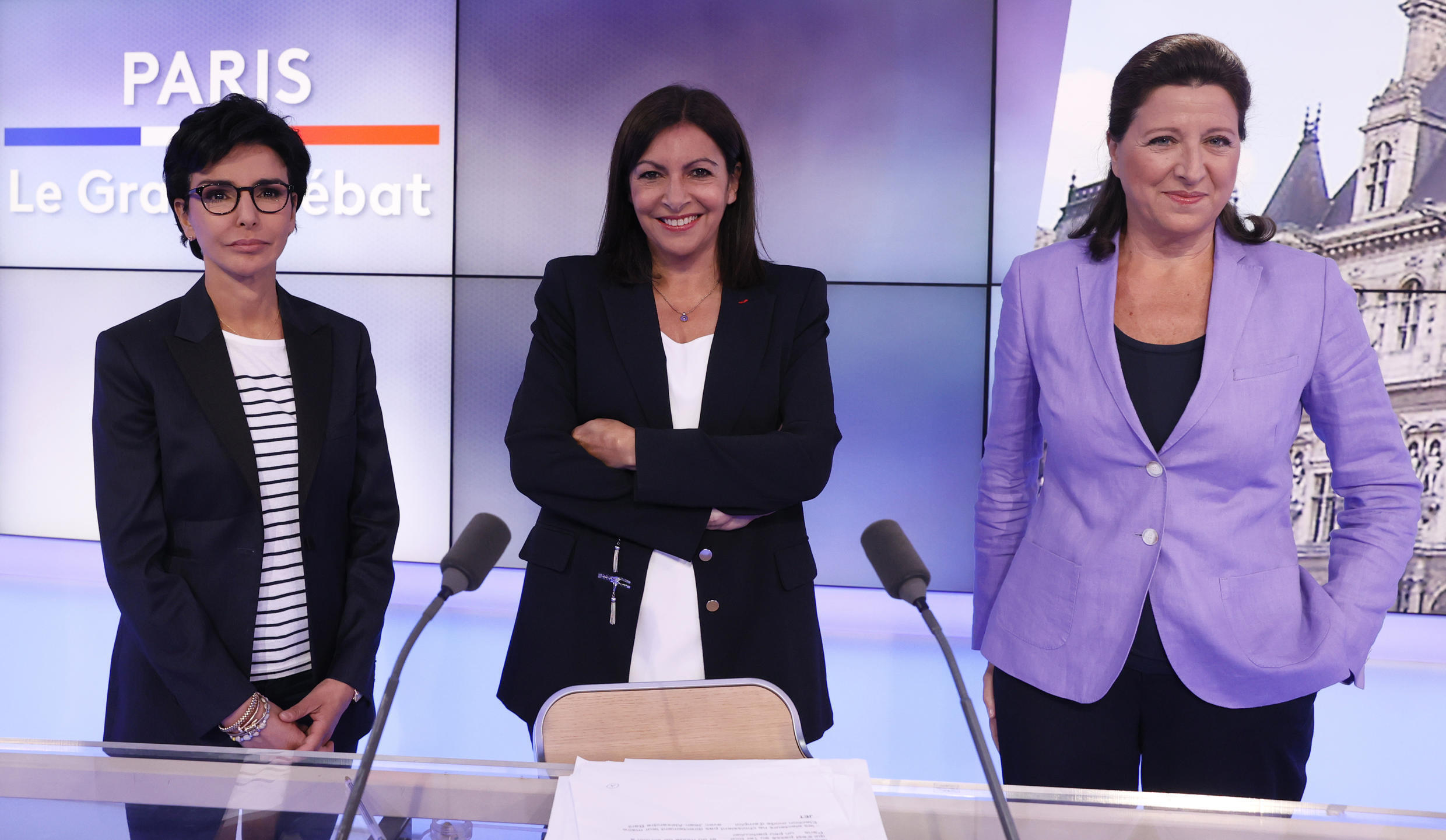 "The three Paris city hall candidates in the upcoming mayoral elections on 2020, Member of the French right-wing Les Republicains (LR) party Rachida Dati (L), Socialist Party (PS) and Paris mayor Anne Hidalgo (C) and La Republique en Marche (LREM) Agnes Buzyn (R), pose prior the start of the of Tv program "" Le Grand Debat "" on France 3 channel in Paris, on June 17, 2020."