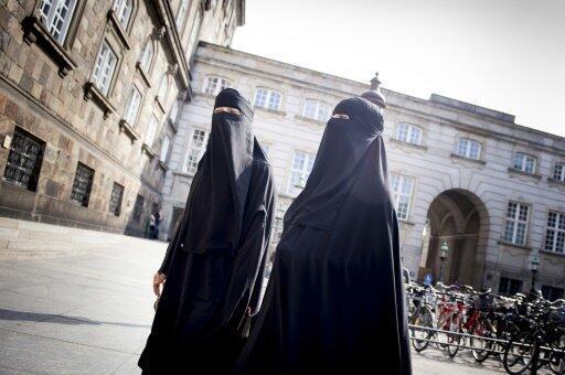 نساء منقبات أمام البرلمان الدنماركي في كوبنهاغن في 31 أيار/مايو