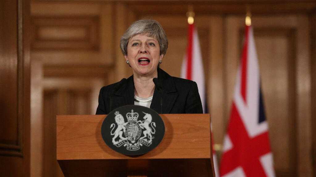 La primera ministra británica, Theresa May, hace una declaración sobre el Brexit en Downing Street en Londres, Reino Unido, el 20 de marzo de 2019.