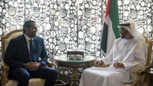 Le Premier ministre démissionnaire du Liban, Saad Hariri, et le prince héritier des Émirats arabes unis, Mohammed ben Zayed al-Nahyane, mardi 7 novembre, à Abu Dhabi.