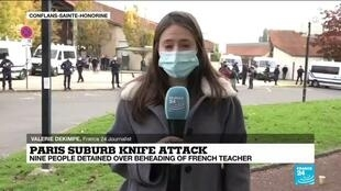 2020-10-17 13:36 'Horror': students and parents react after beheading of French teacher in Paris suburb knife attack