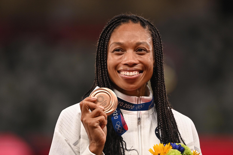 L'Américaine Allyson Felix, médaillée de bronze au 400 m, le 6 août 2021 aux Jeux Olympiques de Tokyo 2020