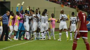 La joie des joueurs ghanéens, qualifiés pour la finale de la CAN-2015.