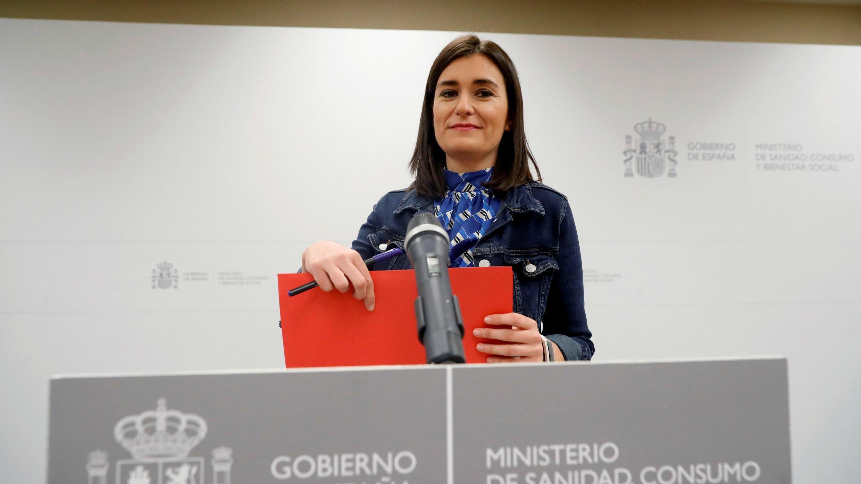 La ex ministra de Sanidad, Carmen Montón, en la rueda de prensa donde anunció su renuncia. 11/09/2018