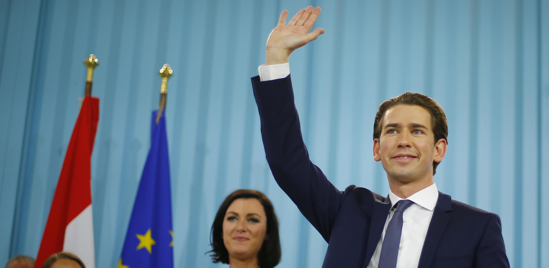 Sebastian Kurz, líder del Partido Popular, atiende un encuentro de celebración con sus seguidores en Viena, Austria. Octubre 15, de 2017