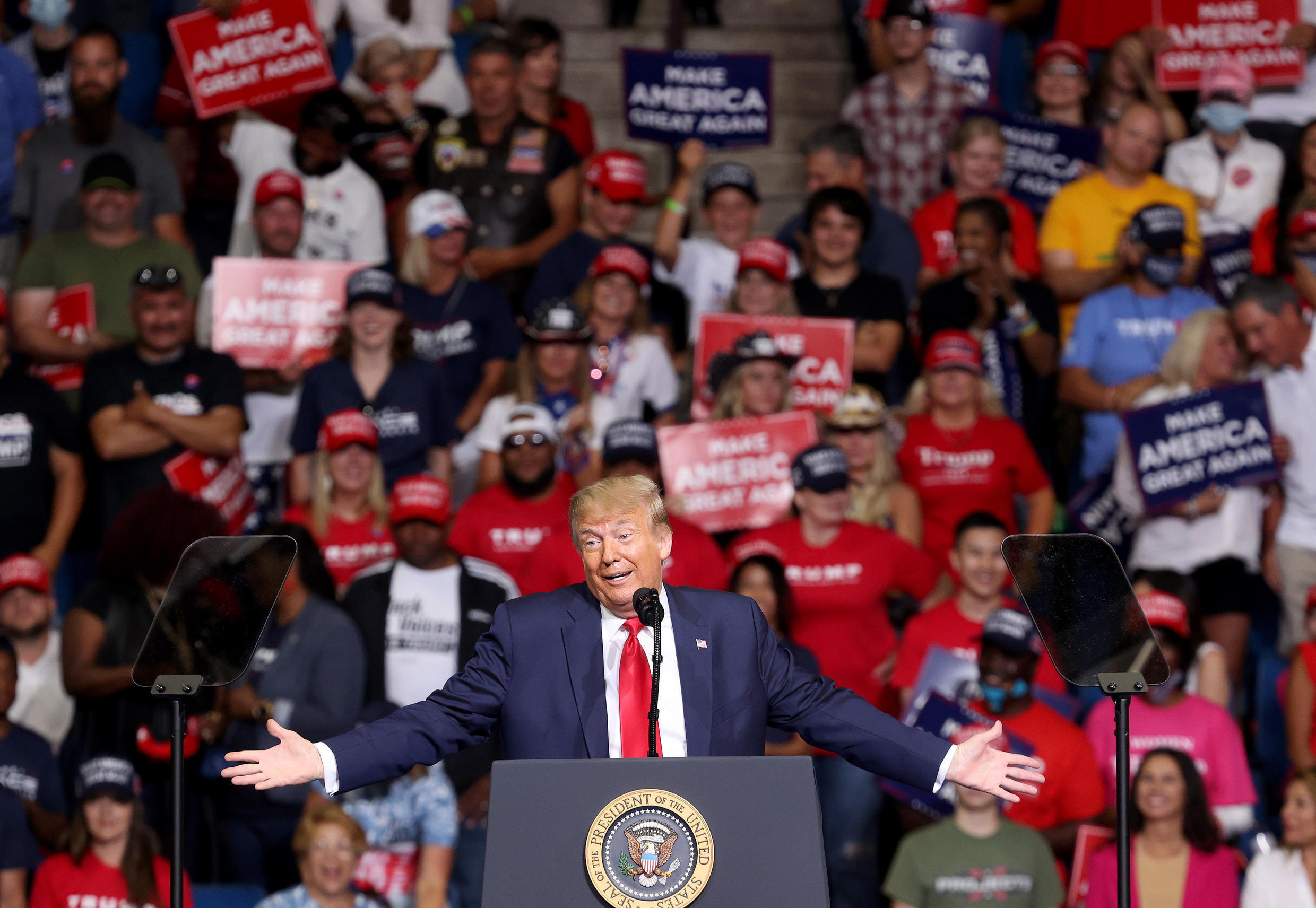 The US president during a campaign rally in Tulsa on June 20, 2020.
