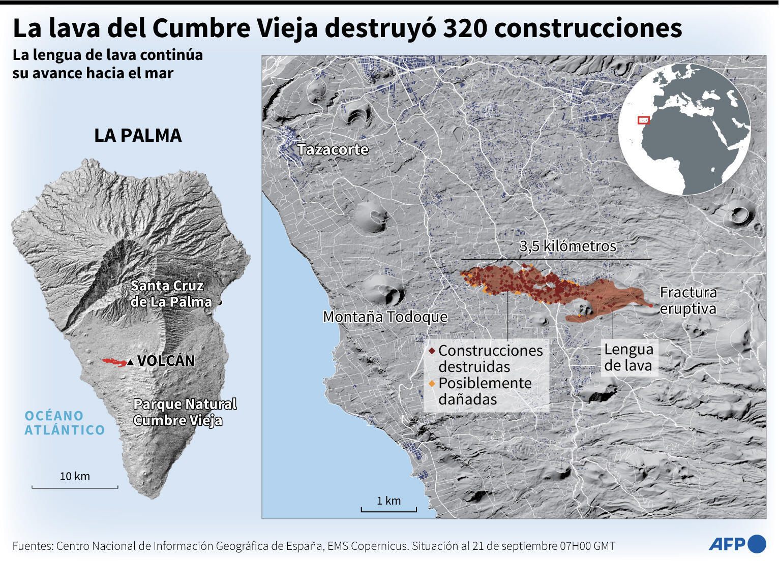 Mapa de la isla de La Palma destacando la lengua de lava que desprendió el volcán Cumbre Vieja, que destruyó 320 construcciones y sigue su avance hacia el mar