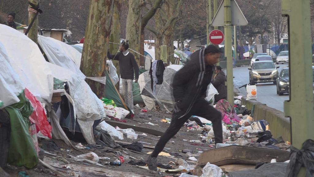 December 2019: An asylum camp at Porte de la Chapelle, Paris. More than 1,500 people live there in deplorable sanitary and security conditions.