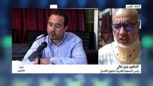 """في يمين الصورة عزيز غالي رئيس الجمعية المغربية لحقوق الإنسان، وفي اليسار رئيس تحرير """"أخبار اليوم"""" سليمان الريسوني."""
