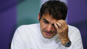 Roger Federer lors d'une conférence de presse à Londres, le 8 juillet 2016.