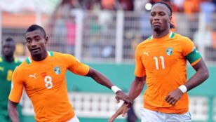 Les Ivoiriens Didier Drogba et Salomon Kalou