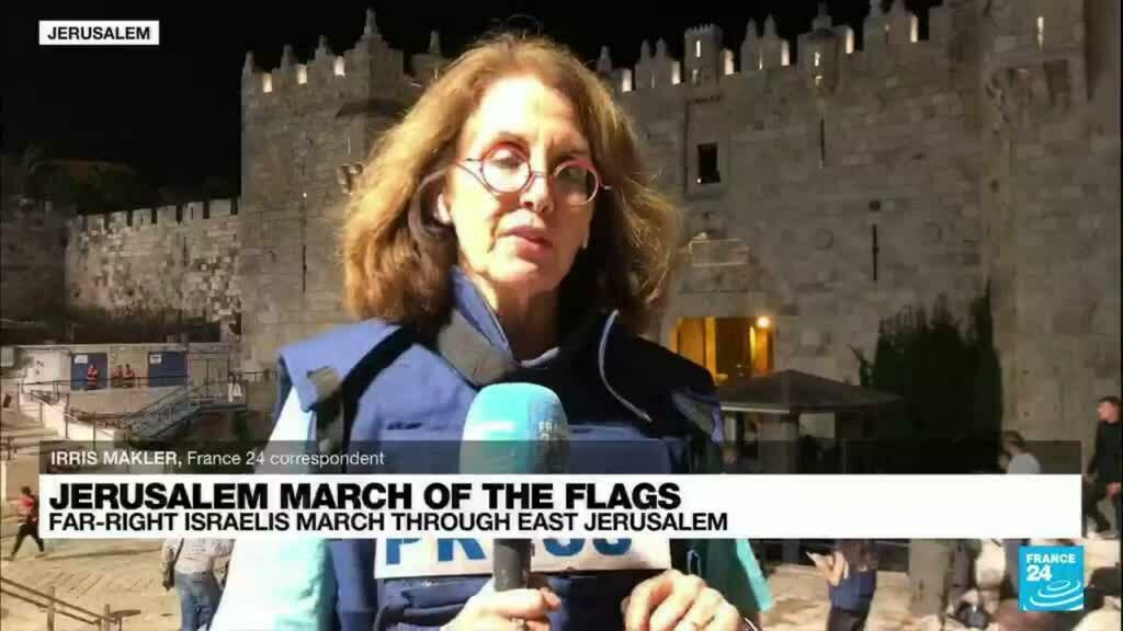 2021-06-15 20:39 Jerusalem march of the flags: Far-right Israelis march in east Jerusalem