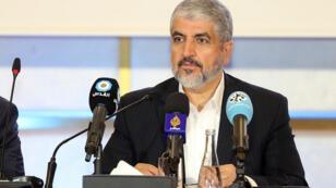 Le chef du Hamas Khaled Mechaal, lors d'une conférence de presse à Doha, le 1er mai 2017.