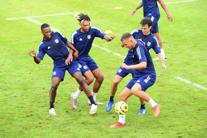 Les joueurs des Girondins de Bordeaux à l'entraînement le 10 août 2020.