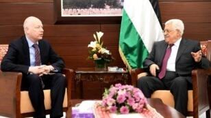 صورة من المكتب الإعلامي للرئاسة الفلسطينية للقاء الرئيس محمود عباس بالموفد الأمريكي جيسون غرينبلات في رام الله 25 أيار/مايو 2017