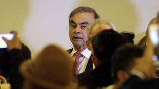 El ex jefe de Nissan, el nipón brasileño Carlos Ghosn, en Beirut, el 8 de enero de 2020, después de huir de Japón