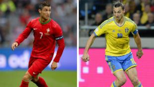 Le Portugais Cristiano Ronaldo face au Suédois Zlatan Ibrahimovic