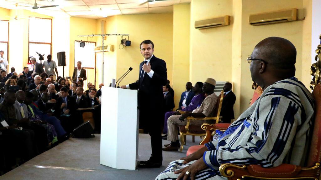 Emmanuel Macron, mardi 28 novembre 2017, à Ouagadougou, au Burkina Faso.