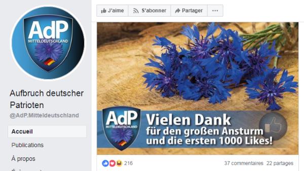 Sur la page Facebook du parti ADP