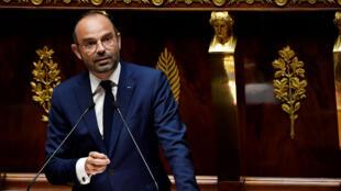 Edouard Philippe à l'Assemblée nationale lors du débat de deux motions de censure contre son gouvernement, le 31 juillet 2018.