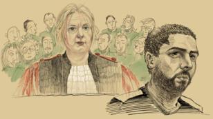 Croquis de Mehdi Nemmouche lors de son procès devant la cour d'assises de Bruxelles, le 3mars2019.
